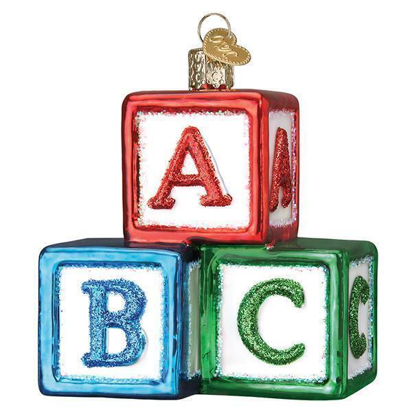 ABC BLOCKS OLD WORLD CHRISTMAS GLASS CHILDREN