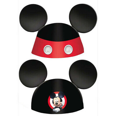 Mickey Mouse Party Hats Birthday Favor Supplies (8) Mickey On the Go Paper - Black Birthday Party Hats