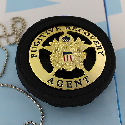 Fugitive Recovery Agent  Leather Holder Belt Clip  Gold Plating ROUND STAR - Leather Round Clip