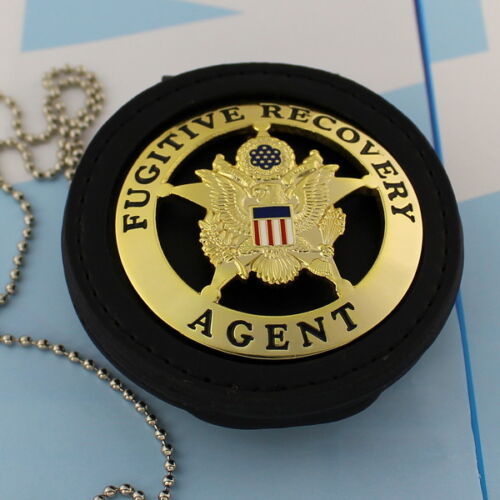Fugitive Recovery Agent  Leather Holder Belt Clip  Gold Plating ROUND STAR