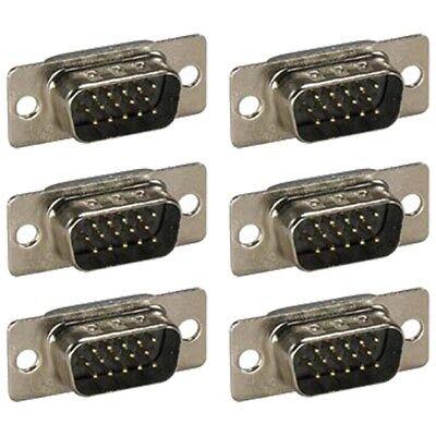 6x D-sub 15-pin Db15 Hd15 Vga Svga Male Assembly Solder Connector Cup Socket