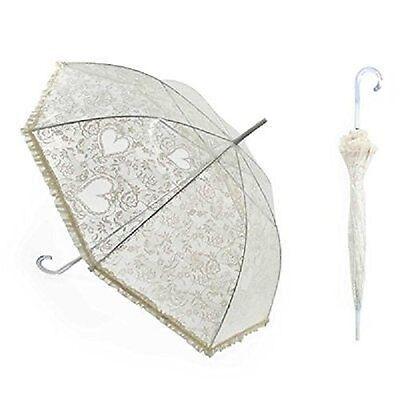 Beautiful Victorian Style White Hearts & Lace Bridal Wedding Umbrella Parasol