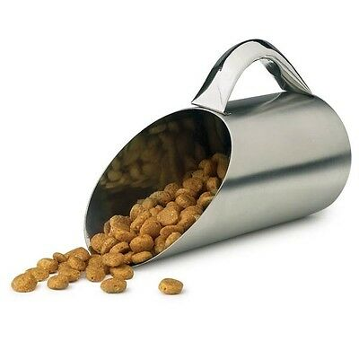 Pet Food Scoop 12 Oz Stainless Steel Matte Finish 1.5 Cup Dry Dog Kibble Scooper
