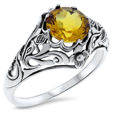 2 Ct HYDRO CITRINE ANTIQUE NOUVEAU DESIGN .925 STERLING SILVER RING Sz 9,  #377
