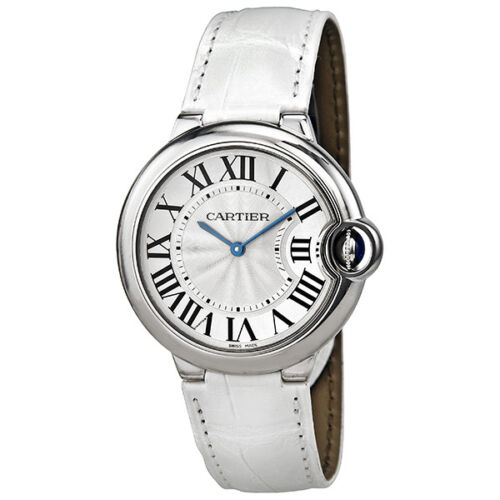 $4241.99 - Cartier Ballon Bleu Silver Dial White Leather Ladies Watch W6920087