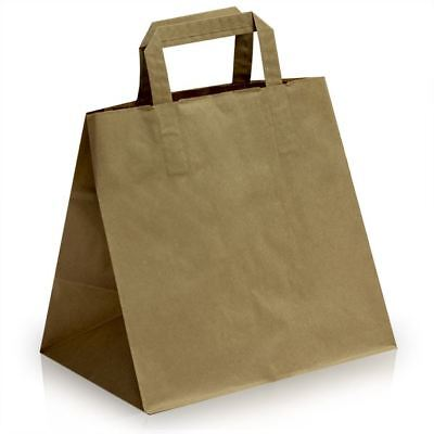 100 Large Brown Cake Bags with Flat Handles 32cm x 24.5cm + 22cm