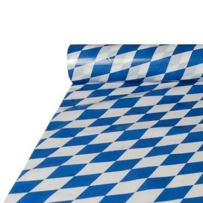 Bayrische Tischdecken, ideal für Biertische, Folie, 20 Meter Rolle, weiß-blau ()