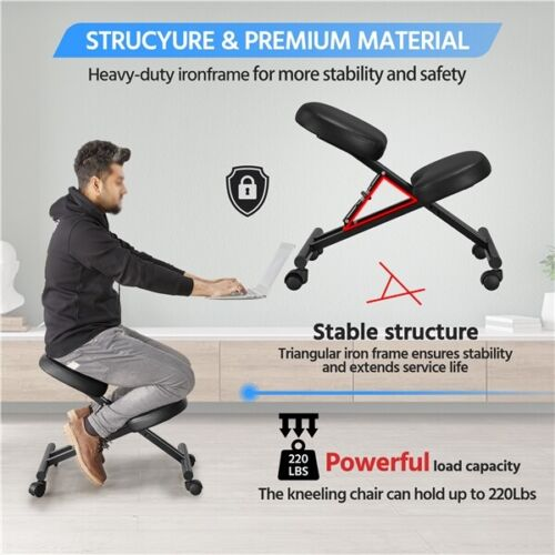Adjustable Ergonomic Kneeling Chair Posture Chair Stool for Home Office Black 6