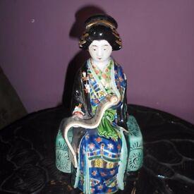 Antique Japanese Kutani Figure Of A Seated Geisha