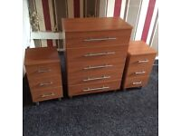 Chest of draws plus 2 bedside cabinets