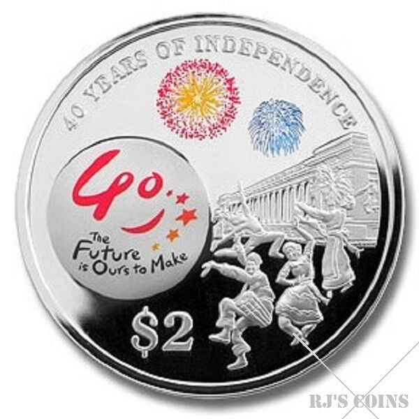 Singapore 2005 $2 Silver Proof Coloured Coin issued by the MAS to mark 40 Years of Independence