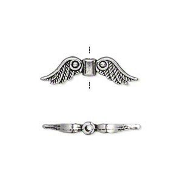 Silver Wings Beads Charms Steampunk Antiqued Angel Feather  Lot of 20