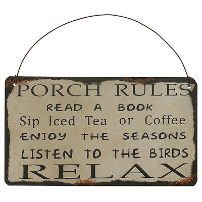 Porch Rules Metal Antique Wisdom Sign Wall Décor Great Gif
