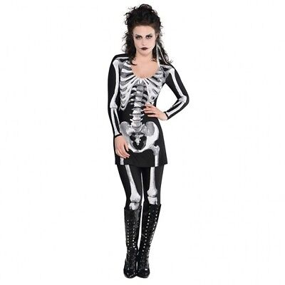 Womens Black Skeleton Bones Halloween Fancy Dress Costume Size M (UK 10-12) 2 Pc ()