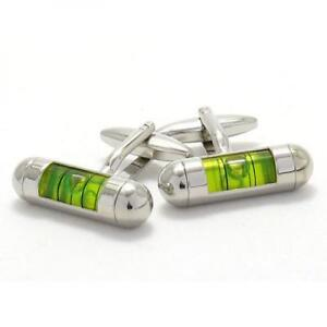 GREEN-Spirit-Level-Cufflinks-Builder-DIY-Carpenter-Cruise-Party-Present-Gift-Box