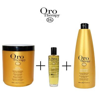 Fanola - Oro Therapy Maschera per Capelli + Shampoo + Fluido Illuminante