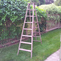 Large Solid Wood Antique Step Ladder 8' High