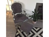 Grey armchair and matching stool
