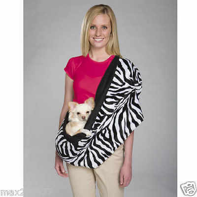 NEW East Side Collection Zebra Plush Sling Pet DOG Carrier  reversible