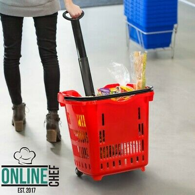 21 14 X 16 12 Red Plastic Grocery Market Shopping Basket With Wheels Storage