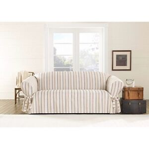 Harbor Stripe One Piece Sofa Slipcover