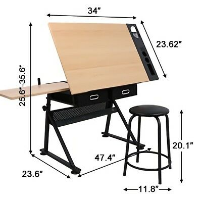 Adjustable Drafting Drawing Table Craft Tiltable Tabletop with Stool + 2 Drawers