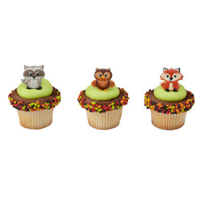 Woodland Animals Fox Raccoon Owl cupcake rings (24) party favor cake topper
