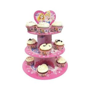 Disney Princess 3 Tier Pink Card Cupcake Stand - Pink Party Food Serving Stand