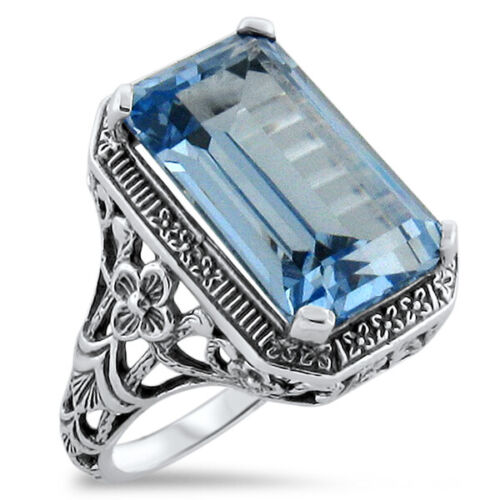 ART DECO ANTIQUE STYLE 925 STERLING SILVER 8 Ct SIM BLUE TOPAZ RING SIZE 6  #334
