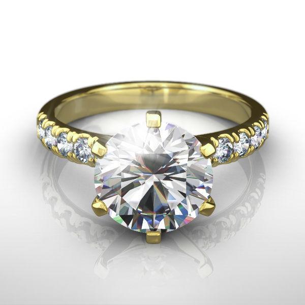 1.75 Ct Round Shape Diamond Ring Side Stones Enchanting 18 Kt Yellow Gold Si1