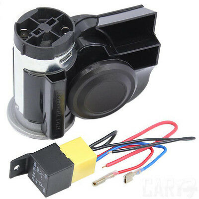 Black 139DB Loud Car Motorcycle Twin Dual Tone Snail Compact Air Horn Van Boat