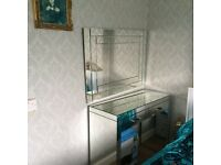 Italian glass mirror dressing table with two drawers and mirror,