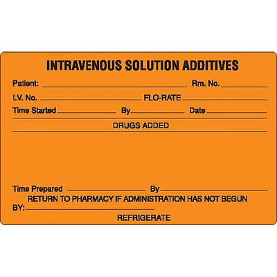 Intravenous Solution Additives Refrigerate Label Black On Orange 1000 Pk