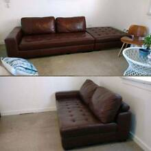 3 PIECE Designer SOFA leather x2 2 seater + ottoman brown chaise Kingsford Eastern Suburbs Preview