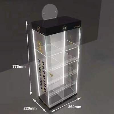 Clear Acrylic Counter Display Casecabinet  With 4 Led Light Multi Purpose