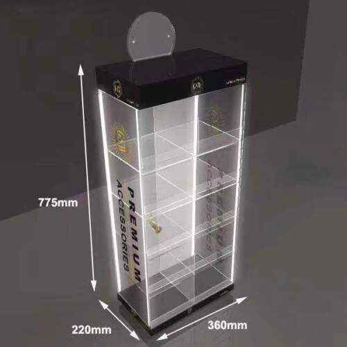 Clear Acrylic Counter Display Case/Cabinet   with 4 LED  Light & Multi purpose