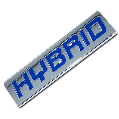 CHROME/BLUE METAL HYBRID ENGINE RACE MOTOR SWAP EMBLEM BADGE TRUNK HOOD DOOR