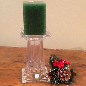 PARTYLITE crystal pillar holder, new in box!