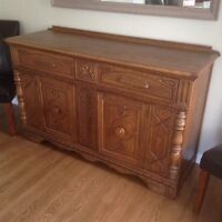 Solid oak sideboard, China cabinet and 6 chairs