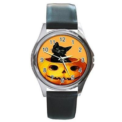 MERRY HALLOWEEN BLACK KITTY CAT PUMPKIN ON ORANGE SILVER-TONE WATCH 9 OTHR STLS](Watch Halloween 9)