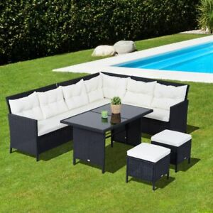 6pcs Wicker Rattan Set Garden Outdoor Lounge Dining Table w/ Cus