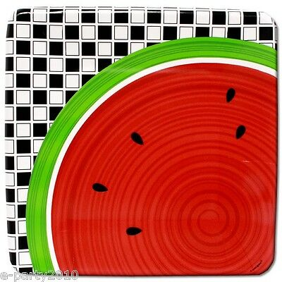 WATERMELON ANT PICNIC LARGE PAPER PLATES (8) ~ Birthday Party Supplies Checkered](Watermelon Paper Plates)