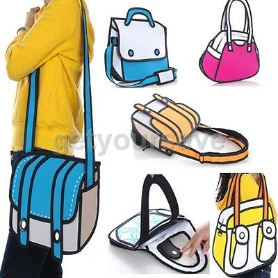 3D Jump Style 2D Drawing From Cartoon Paper Bag Comic Messenger Bag 6 Types