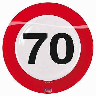 8 PAPPTELLER 23cm MOTIV SCHILD MIT DER ZAHL 70.  Geburtstag  70 ()