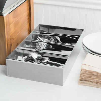 4 Compartment Stainless Steel Silverware Cutlery Holder Organizer Box Bin