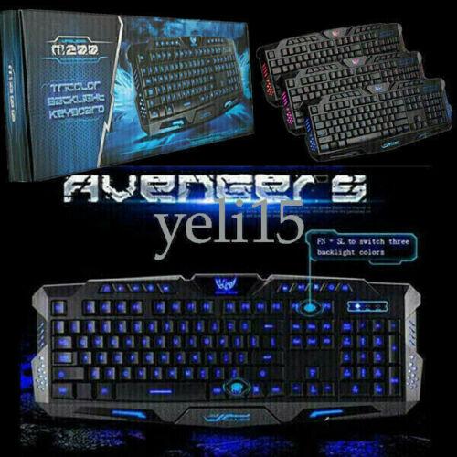 Adjust 3Colors Gaming Keyboard Illuminated LED Backlight USB