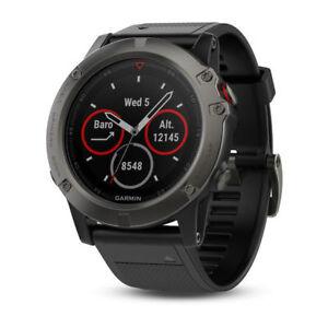Sportelektronik Fitness & Jogging Garmin fēnix 5X GPS Multisport Smartwatch Saphir/Grau mit Schwarz Armband günstig kaufen