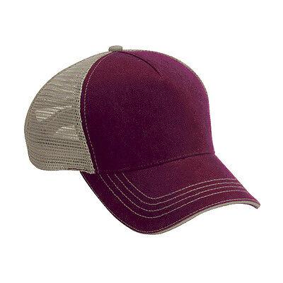 Wholesale 12 Blank Trucker Hats Maroon/Khaki Cotton/Mesh Embroider/Screen 5Panel Blank Trucker Hats