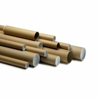 10 x Quality A4 Cardboard Postal Tubes With End Caps- 240mm x 50mm x 1.5mm wall