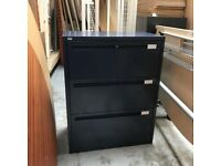 Dark blue Roneo three drawer side filer